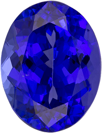 Rich Oval Loose Tanzanite with Rich Purple Blue Color, Standard Size, 9.2 x 7.1 mm, 2.41 carats
