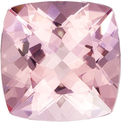 Rich Pinky Peach Morganite Loose Gem in Cushion Cut in 9.8 mm, 3.44 carats