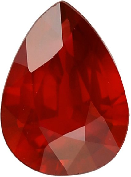 Rich Red Color in Ruby Gem in Unheated Pear Shape, 1.32 carats, 7.9 x 6.2 mm GRS Certificate