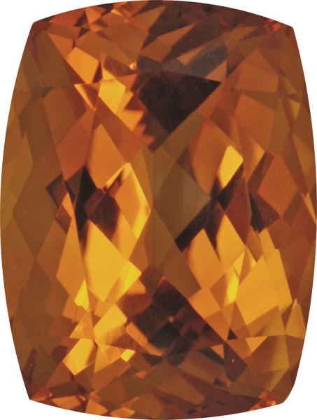 Rich Stunning Natural Citrine Gemstone in Antique Cushion German Cut, Vivid Golden Yellow, 18.8 x 15.7 mm, 18.09 carats