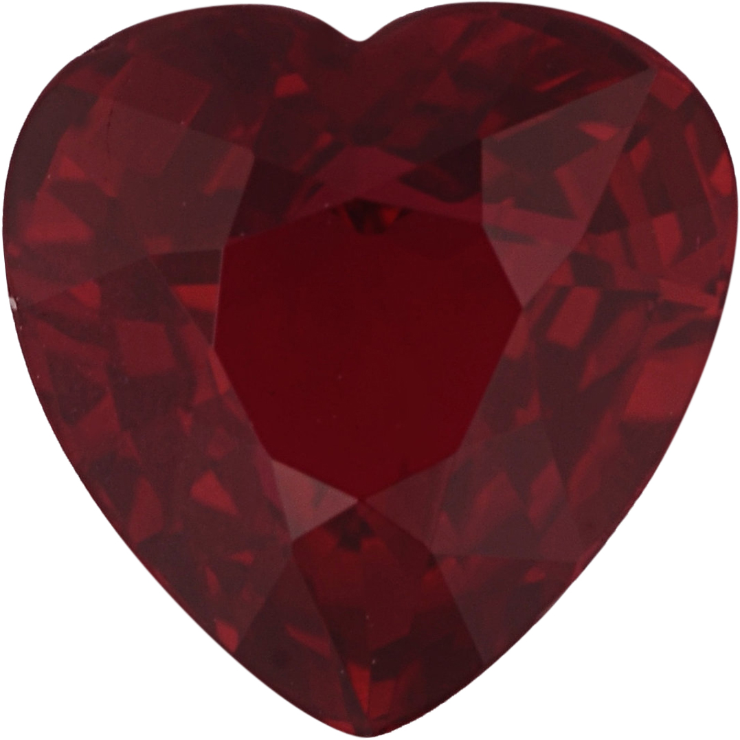 Rich  Unheated Ruby Loose Gem in Heart Cut, Vibrant Purple Red, 6.26 x 6.23  mm, 1.16 Carats