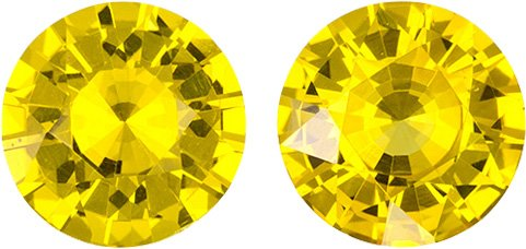 Rich Yellow Ceylon Sapphire Well Matched Pair in Round Cut, 5.5 mm, 1.39 Carats