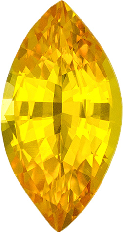Rich Yellow Marquise Sapphire Stone in Medium Rich Yellow Color, 9.5 x 4.9 mm, 1.09 carats