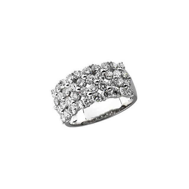 Right Hand 4 Rows of Diamonds Platinum 2 Carat Total Weight Band Ring