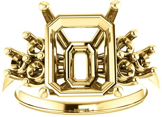 Ring Mounting for Emerald Shape Centergem Sized 6.00 x 4.00 mm to 12.00 x 10.00 mm - Triple Side Accents - Customize Metal, Accents or Gem Type