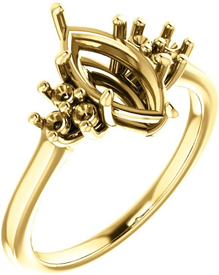 Ring Mounting for Marquise Shape Centergem Sized 8.00 x 4.00 mm to 12.00 x 6.00 mm - Triple Side Accents - Customize Metal, Accents or Gem Type