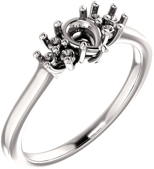 Ring Mounting for Pear Shape Centergem Sized 6.00 x 4.00 mm to 12.00 x 8.00 mm - Triple Side Accents - Customize Metal, Accents or Gem Type