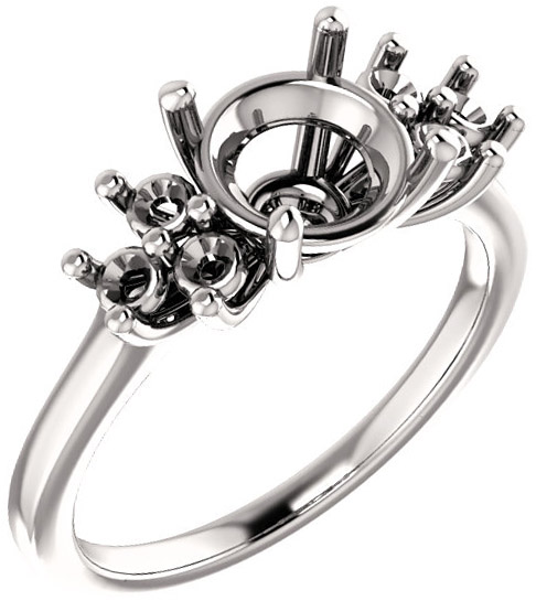 Ring Mounting for Round Shape Centergem Sized 4.10 mm to 12.00 mm - Triple Side Accents - Customize Metal, Accents or Gem Type