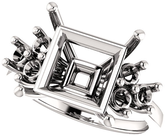 Ring Mounting for Square Gemstone Size 4mm to 10mm  Triple Side Accents