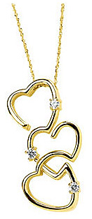Romantic 14k Yellow Gold 3 Heart Pendant With .2ct 3 2.50mm Moissanite Accents - FREE Chain Included With Pendant - SOLD