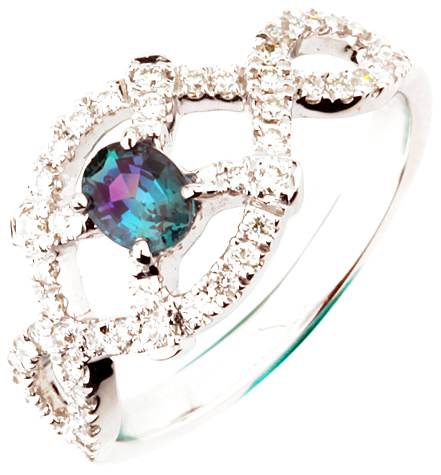 Romantic Diamond and Natural .39ct, 5.09 x 3.95 mm Alexandrite Gemstone Ring in 14k White Gold for SALE