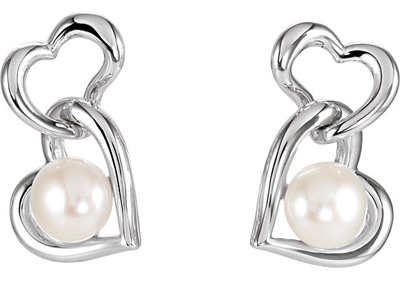 Romantic Double Heart Link Earrings in Sterling Silver With 6mm Freshwater Round/Button Pearl - Very Good Luster