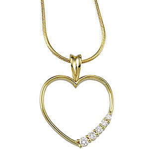 Romantic Gold Open Heart Pendant With Journey Style .2ct Diamond Accents - Choose 14k White or Yellow Gold - FREE Chain