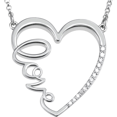 Romantic Heart Shaped Sterling Silver Pendant With Cursive