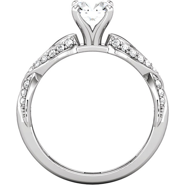 Romantic Infiniti Twist Style 1/4ctw Diamond Accented Semi-Mount Without Head in 14kt Gold