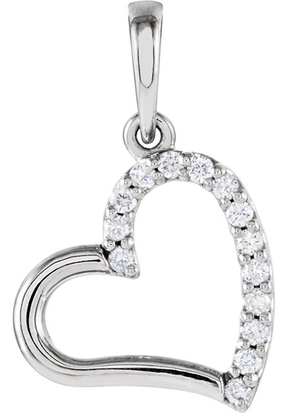 Romantic Open Heart 14k Gold Pendant With .07ct Pave Diamond Accents - Metal Type Options - FREE Chain