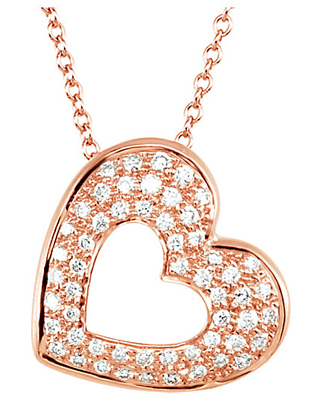 Romantic Open Heart Pendant With 1/4ct Diamond Melee Sized .95-1.15mm in 14k Gold - Choose White, Rose or Yellow Gold - Free Chain Included