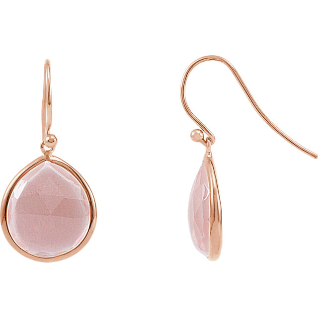 Great Gift in 14 Karat Rose Gold Gold-Plated Sterling Silver Rose Quartz Earrings