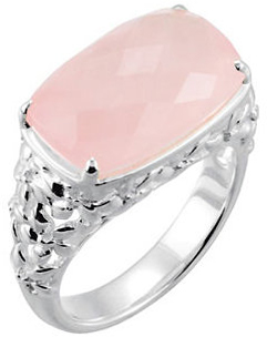 Rose Quartz Floral Ring