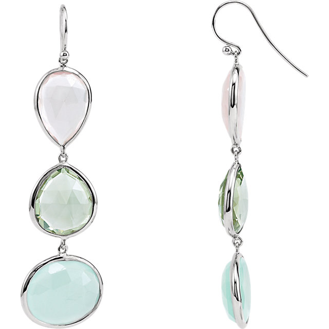Gorgeous Rose Quartz, Green Quartz and Aqua Blue Chalcedony Earrings