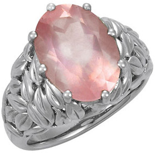 Rose Quartz Leaf Design Ring