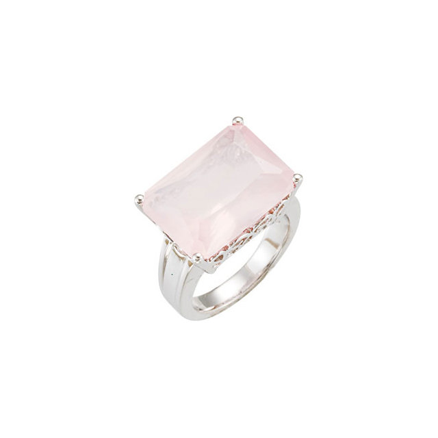 Beautiful Rose Quartz Scroll Design Ring
