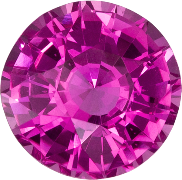 Vibrant Hot Pink Sapphire Loose Ceylon Gem in Round Cut, 6.4 mm, 1.25 Carats