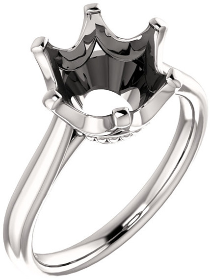 Round 6Prong Classic Solitaire Engagement Ring Mounting for 4.80mm to 10mm Center