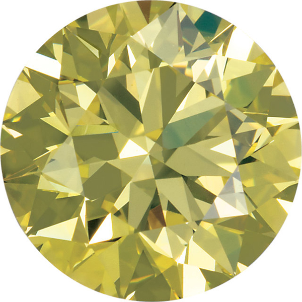 Round Cut Canary Yellow Genuine Diamonds