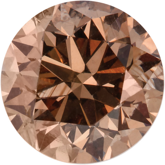 Round Cut Cognac Diamond Natural Color SI1 Clarity