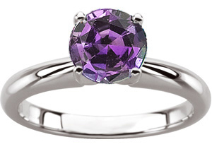 Genuine Alexandrite Engagement Solitaire Ring in Round Cut FINE 4.0mm, 0.25 carat Gem, 4 prong in 14 karat white gold