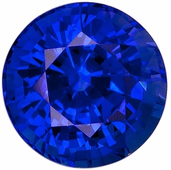 Round Cut Genuine Blue Sapphire in Grade AAA