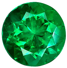 Round Diamond Cut Genuine Emerald in Grade AAA