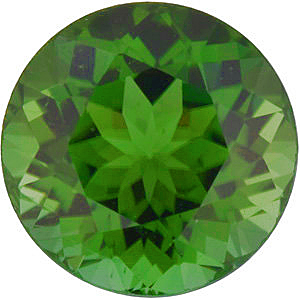 Round Cut Genuine Green Tourmaline in Grade AAA