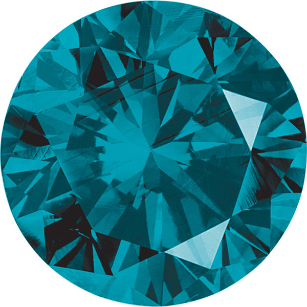 Round Cut Teal Blue Diamond - Enhanced Genuine