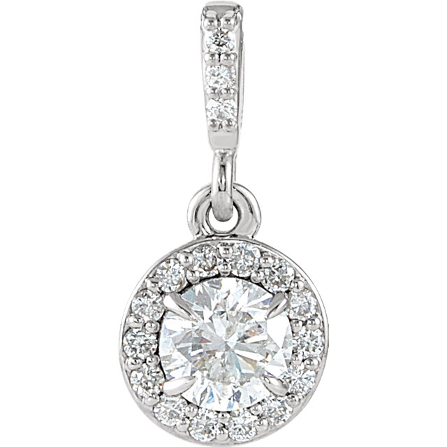 14 Karat White Gold 0.40 Carat Diamond Halo-Style Pendant