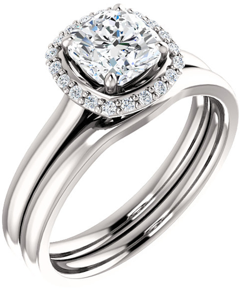 Round Halo Style Engagement Ring Mounting for 4.10 mm - 12.00 mm Center - Customize Metal, Accents or Gem Type