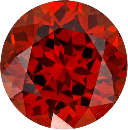 Round Natural Spessartite Stone in Intense Reddish Orange Color, 7.0 mm, 2.05 Carats