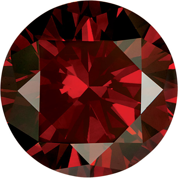 Round Red Garnet Colored Genuine Enhanced Diamonds