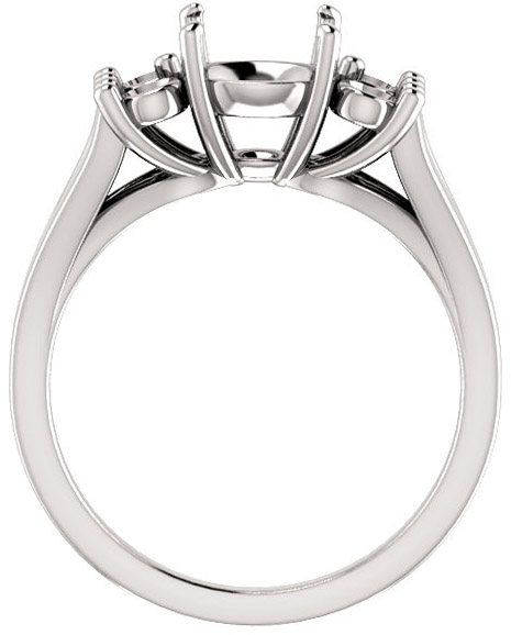 Round Ring Mounting With 4 Side Accents - Shape Centergems Sized 4.10 mm to 12.00 mm - Customize Metal, Accents or Gem Type