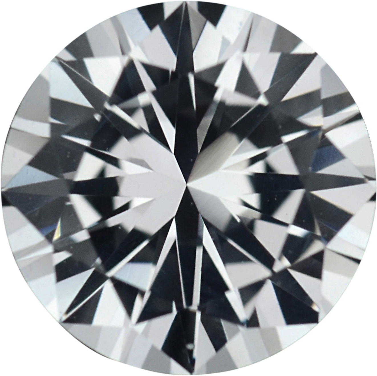 1.29 carats White Loose Sapphire Gemstone in Round Cut, 6.74 mm