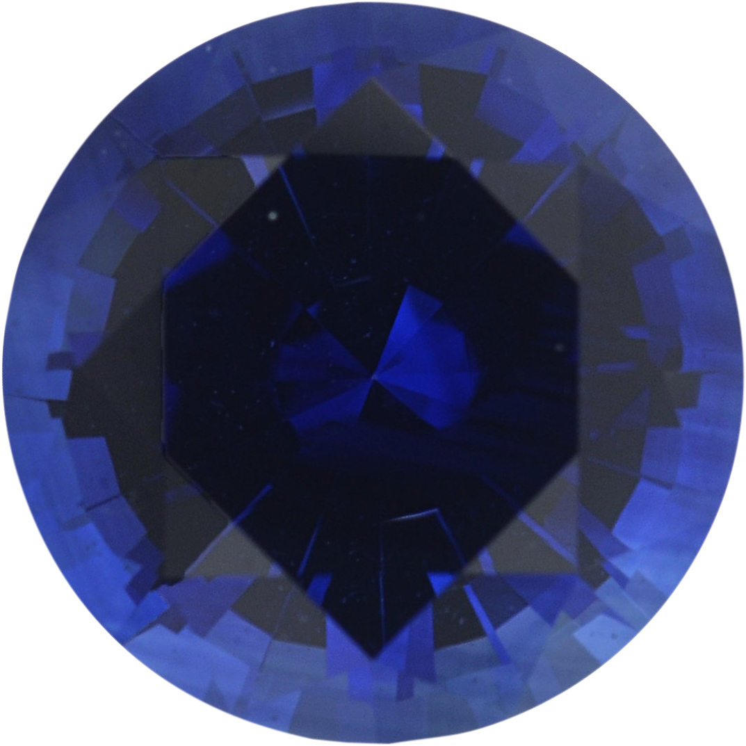 0.97 carats Blue Loose Sapphire Gemstone in Round Cut, 6 mm