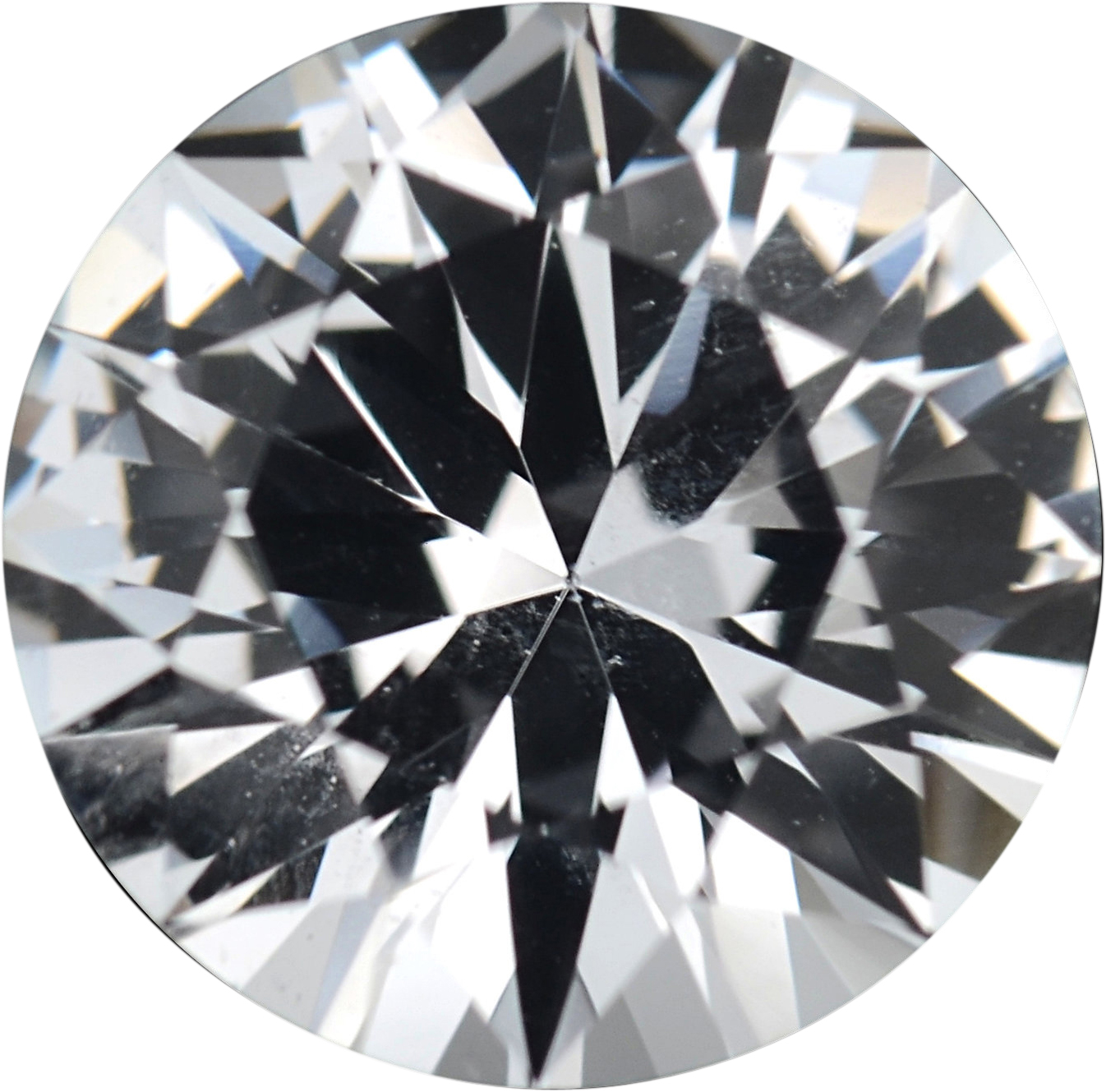 1.36 carats White Loose Sapphire Gemstone in Round Cut, 6.8 mm