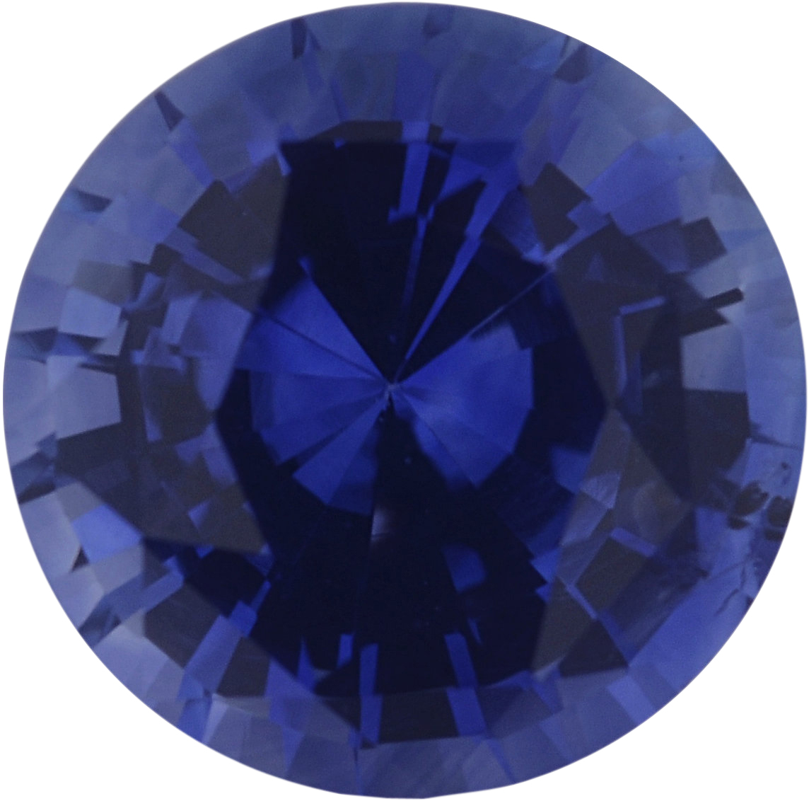 1.39 carats Blue Loose Sapphire Gemstone in Round Cut, 6.7 mm