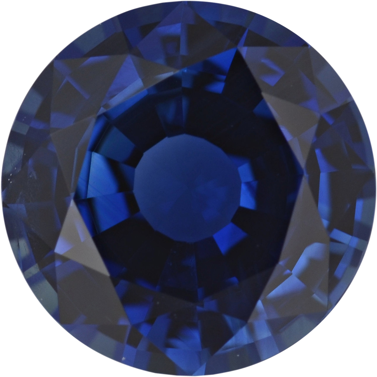 1.43 carats Blue Loose Sapphire Gemstone in Round Cut, 6.89 mm