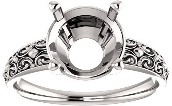 Round Sculptural Style Solitaire Ring Mounting for 5.20 mm to 14.00 mm Center - Customize Metal, Accents or Gem Type