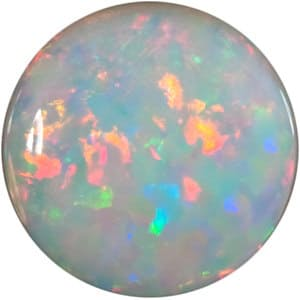 Round Shape Cabochon White Fire Opal Gemstone Grade GEM, 6.00 mm in Size, 0.54 carats