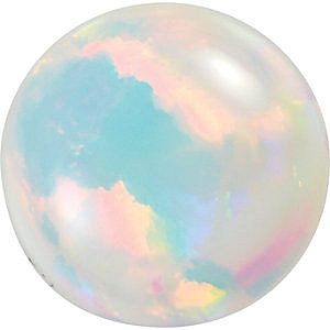 Round Shape Chatham Created White Opal High Quality Gemstone Grade GEM, 9.00 mm in Size