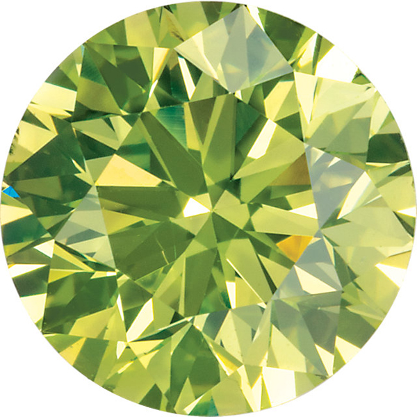 Loose Genuine Standard Size Round Shape Enhanced Apple Green Diamond SI Clarity, 3.00 mm in Size, 0.1 Carats