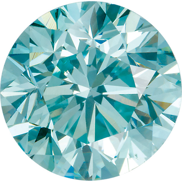 Standard Size Faceted Loose Round Shape Enhanced Aqua Blue Diamond SI Clarity, 1.30 mm in Size, 0.01 Carats